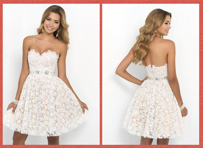 Short A-line Sweetheart Beaded Waistband Lace Homecoming Dress
