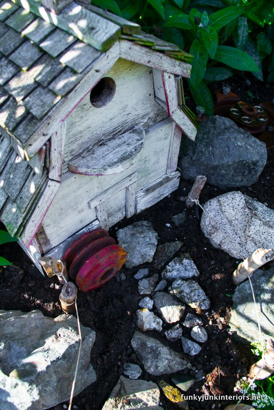 barn birdhouse in fairy garden