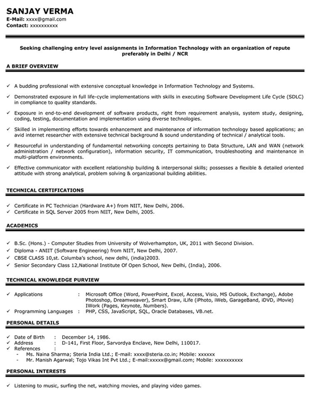 Impressive Resume Format Freshers Experienced Cv Sample For Job