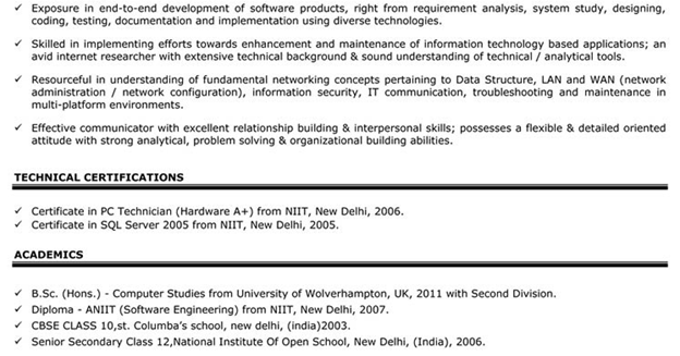 impressive resume format for experienced
