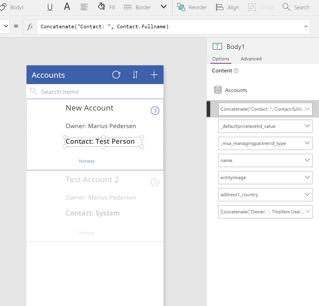 Using related entities in PowerApps with MSDYN365 as a data