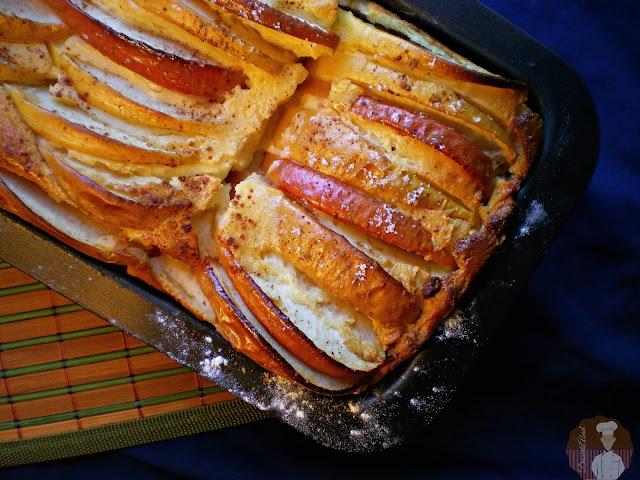 Pastel de quesitos con manzanas: horneado completo