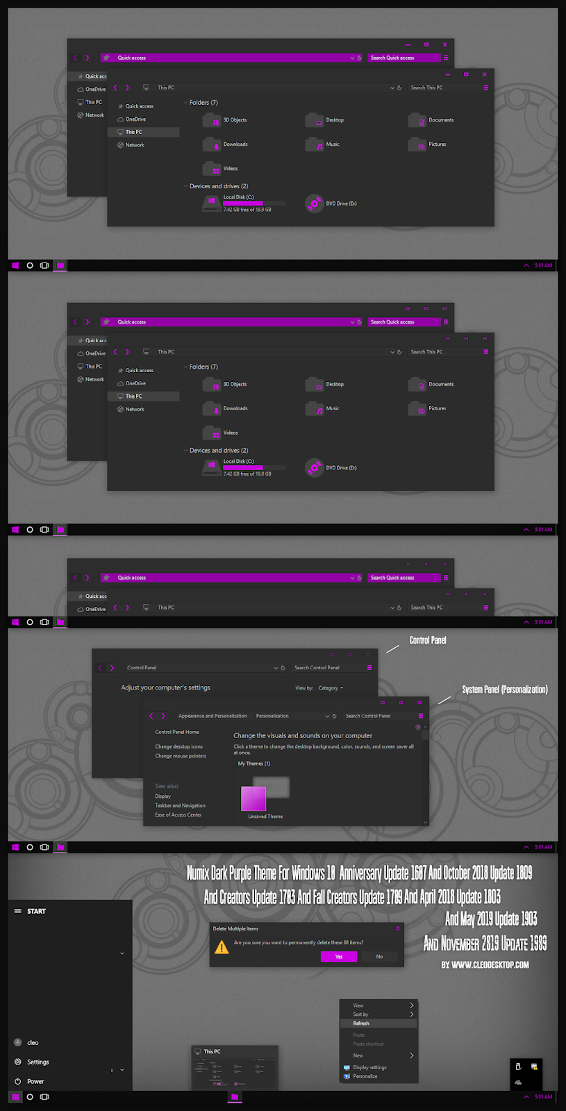 Numix Dark Purple Theme For Windows10 2004