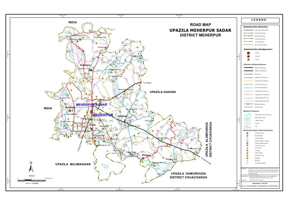Meherpur Sadar Upazila Road Map Meherpur District Bangladesh