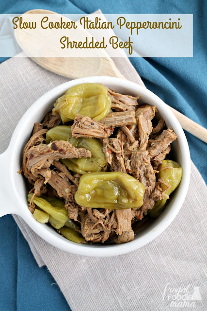 It only takes 4 ingredients & a few minutes of prep to make this juicy and flavorful Slow Cooker Italian Pepperoncini Shredded Beef.
