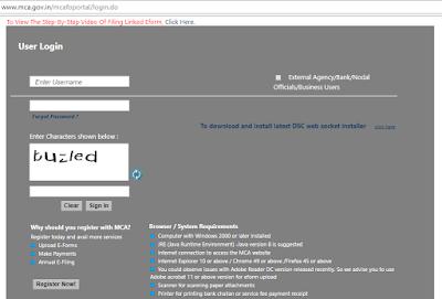 MCA website login register for efiling