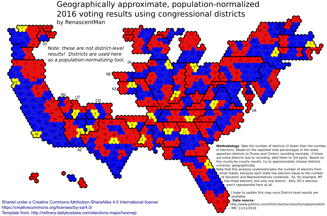 Geographically approximate, population-normalized 2016 voting results using congressional districts