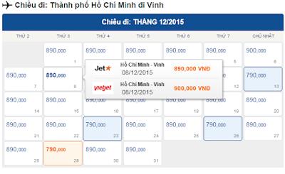 Giá vé máy bay giá rẻ đi Vinh tháng 12