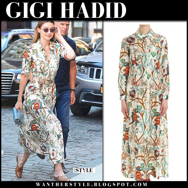 Gigi Hadid in floral print maxi dress alberta ferretti and brown leather mules freda salvador model style june 19