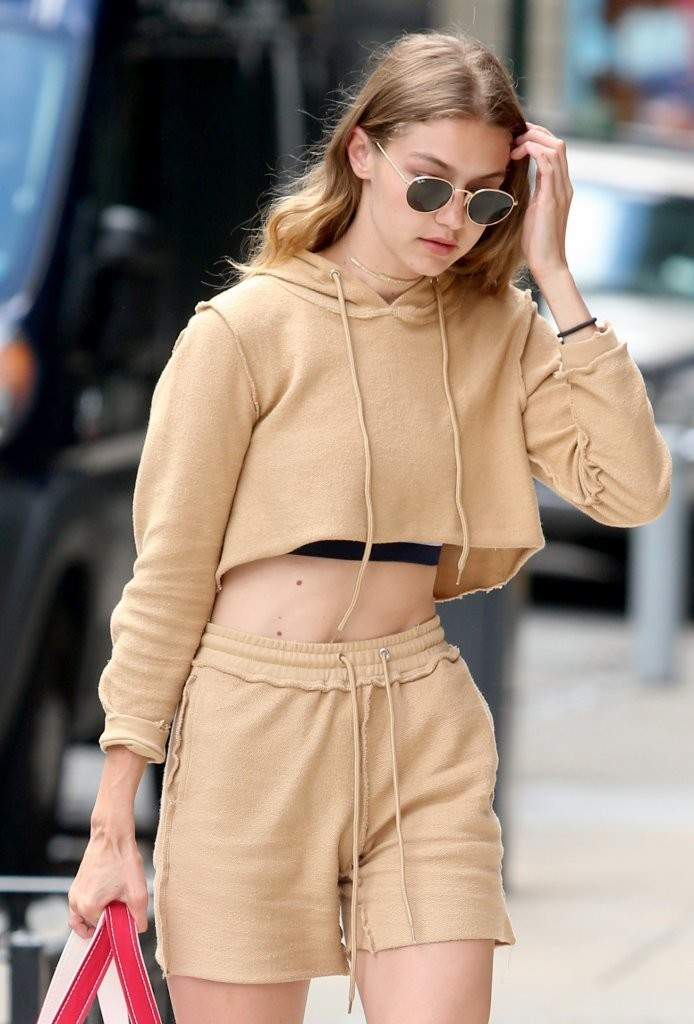 Gigi Hadid Wears a Cropped Tracksuit Out in NYC