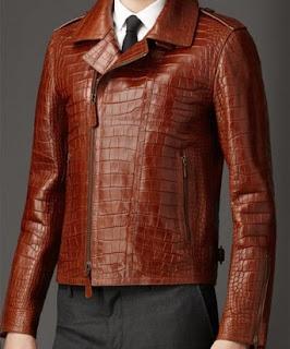 Gambar jaket kulit buaya pria warna coklat
