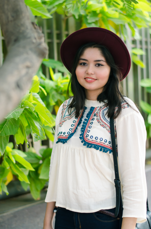Embroidered white bohemian flared blouse