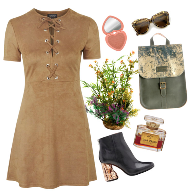 Neutrals and nude dresses. This outfit is romantic with a modern day twist.
