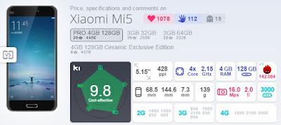 Xiaomi Mi5 Pro Skor AnTuTu Benchmark 142.084