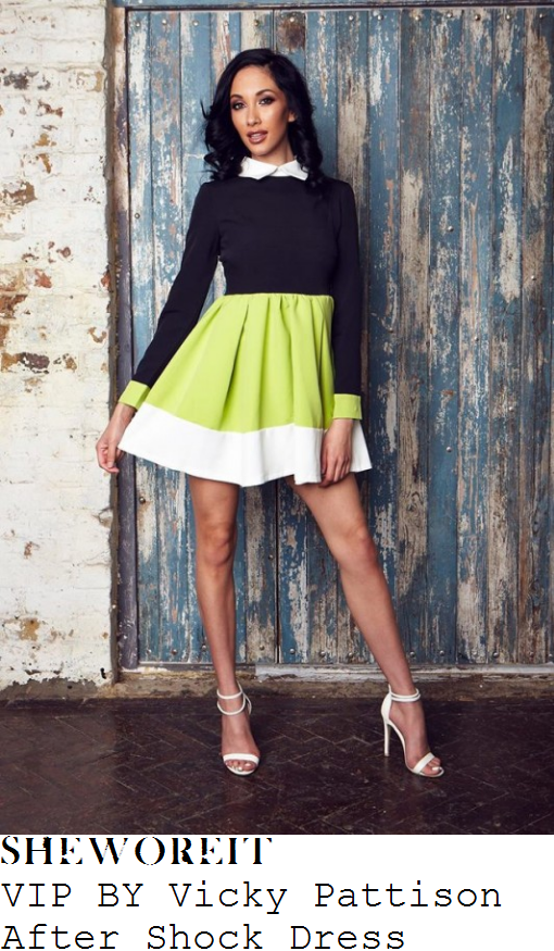 vicky-pattison-vip-by-vicky-pattison-after-shock-black-lime-green-and-white-colour-block-panel-detail-long-sleeve-collared-high-waisted-fit-and-flare-skater-mini-dress