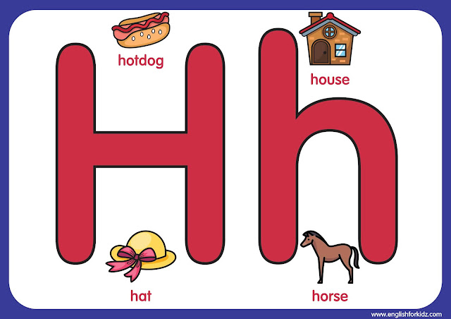 Letter h - big printable alphabet letters for elementary school kids