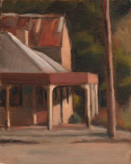 Oil painting of a corner building with a verandah.
