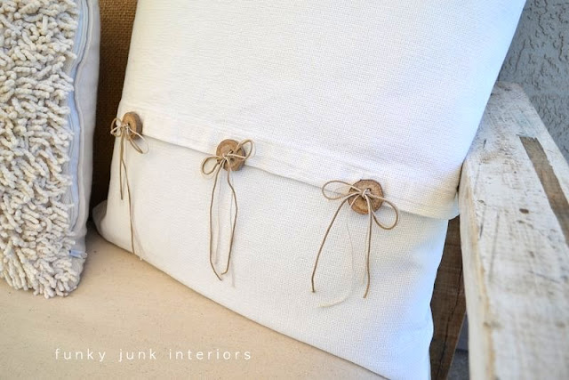How to make branch buttons on a homemade pillow, part of a pallet wood sofa reveal | funkyjunkinteriors.net