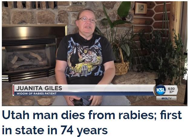 Utah man dies from rabies