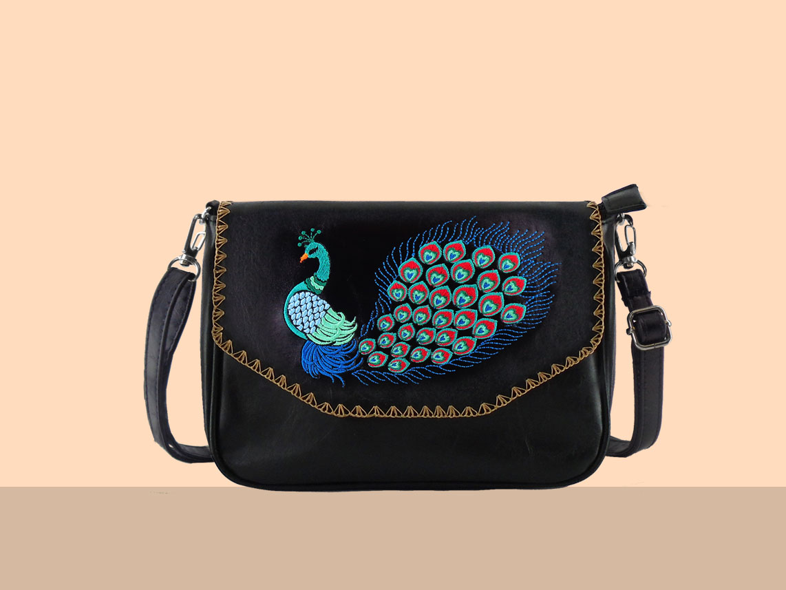LAVISHY vegan bag with peacock embroidery motif