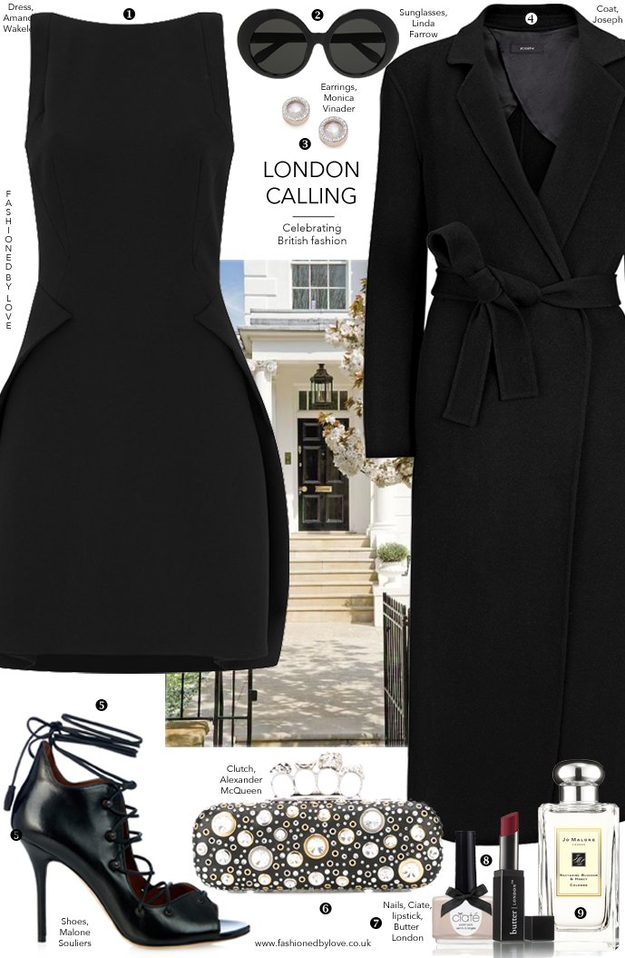 Little black dress outfit idea inspired by London fashion week and British fashion designers and brands, and styled with new and ironic brands featuring Amanda Wakeley, Malone Souliers, Alexander McQueen, Joseph, Jo Malone, Linda Farrow and more via www.fashionedbylove.co.uk, style & fashion blog