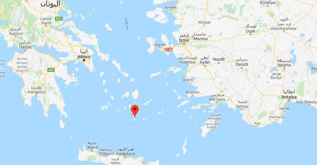 خريطة جزيرة سانتوريني اليونانية Santorini island Map