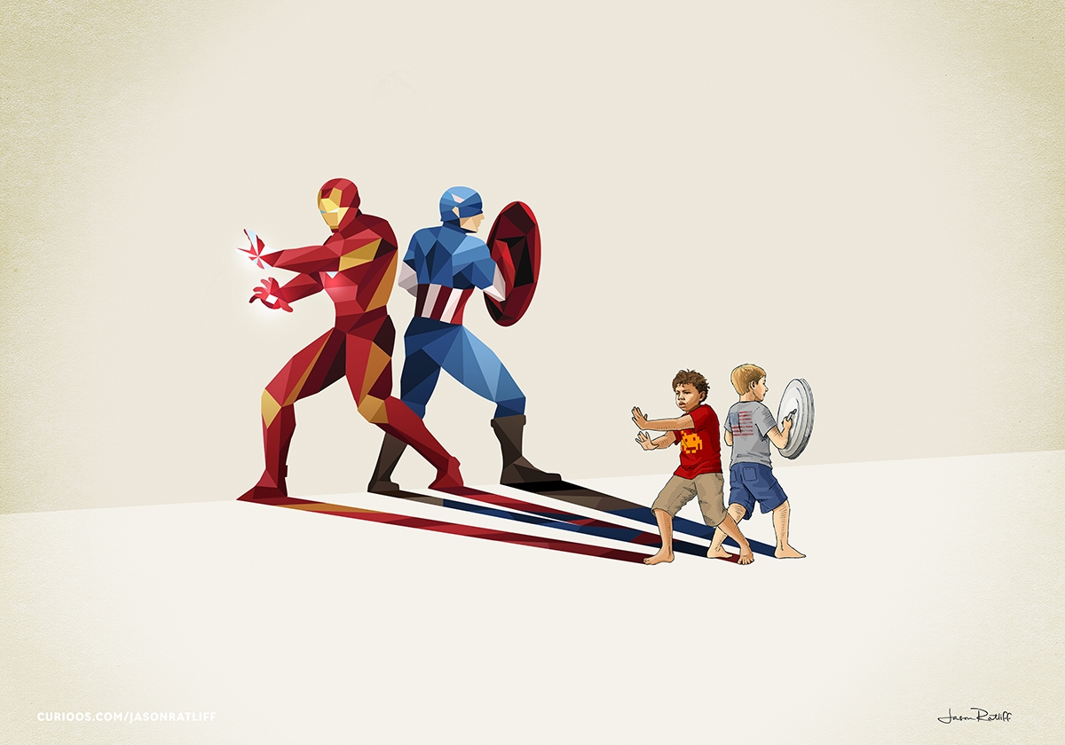 07-Iron-Man-and-Captain-American-Jason-Ratliff-Comic-Book-Heroes-in-Super-Shadows-II-Illustrations-www-designstack-co