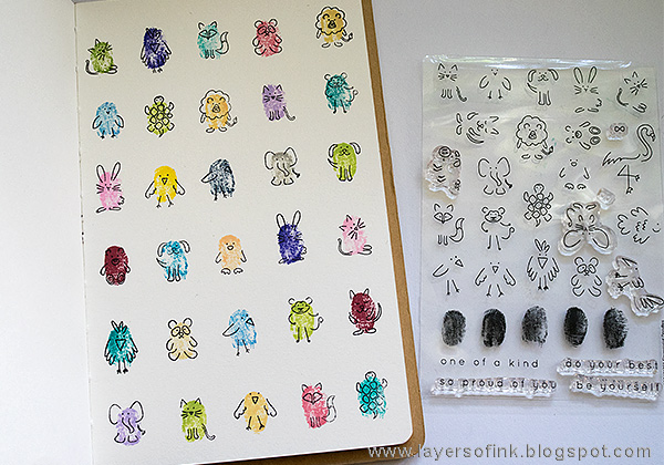 Layers of ink - Fingerprint Doodles Art Journal Page Tutorial by Anna-Karin