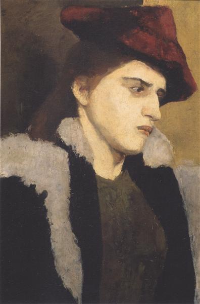 Paula Modersohn-Becker Портрет молодой женщины с красной шляпой