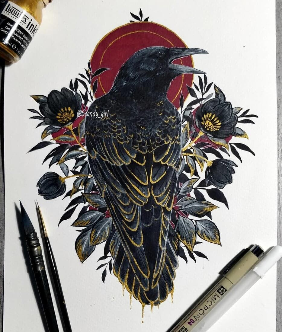 10-Raven-Jonna-Hyttinen-Animals-Mixture-of-Drawings-and-Paintings-www-designstack-co
