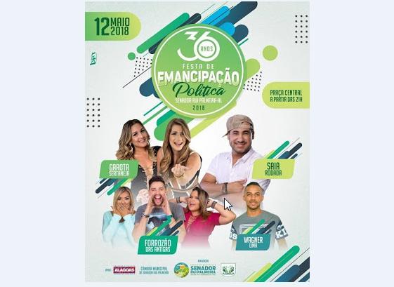 Em Senador Rui Palmeira, festa de  36 anos de Emancipação Política acontece neste sábado, 12