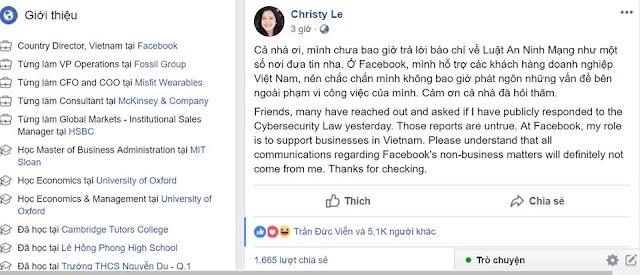 Giám đốc Facebook Việt Nam - Lê Diệp Kiều Trang đính chính - Không có phát ngôn nào sau khi luật an ninh mạng thông qua