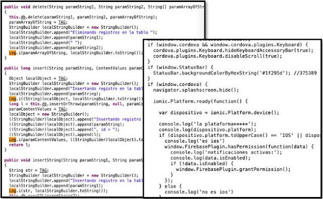 """Uso de Funciones de debugging """"Console"""" activadas en producción imagen"""