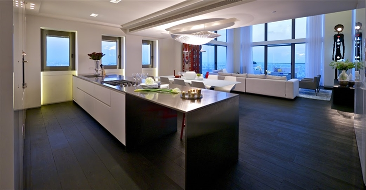 Furniture in modern penthouse kitchen