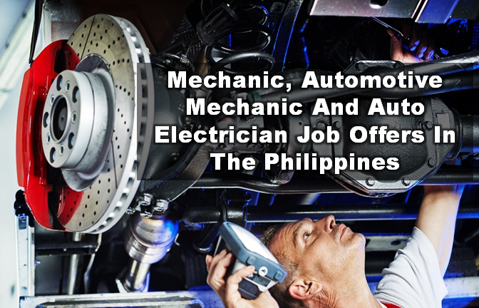 """Are you looking for a local jobs in the Philippines? The following are job vacancies for you. If you are interested, you may contact the employer/agency listed below to inquire further or to apply.  """"Advertisements""""     JOB VACANCIES 1. AUTOMOTIVE MECHANIC Hexagon Group of Companies Min 1 year (1-4 Yrs Experienced Employee) Website: http://www.hexagon.com.ph/ Telephone No.: 414-6241 Address: Hexagon Group of Companies, Quezon City, Metro Manila, Philippines  2. ACCOUNT EXECUTIVE (AUTOMOTIVE) PPC Asia Corp Min 1 year (1-4 Yrs Experienced Employee) Website: http://ppcbizgroup.com/ Telephone No.: 09175557116 - 09989558117 - 09237371839 WORK LOCATION Address: Quezon Avenue, Quezon City, Metro Manila, Philippines  3. SENIOR AUTO MECHANIC Unique Auto Car Specialist Company Min 5 years (Supervisor/5 Yrs & Up Experienced Employee) Telephone No.: 02 5614562, 025614167 WORK LOCATION Address: 2701 New Panaderos Street, Santa Ana, Metro Manila, Philippines  4. HEAVY TRUCK MECHANIC Company Confidential PHP 12,766 - PHP 20,000 Min 3 years (1-4 Yrs Experienced Employee) Address: Philippines - National Capital Reg - Manila City  5. AUTOMOTIVE FINANCE INSURANCE OFFICER (URGENT) AUTOVELOCITY CORPORATION Min 2 years (1-4 Yrs Experienced Employee) WORK LOCATION Address: 1021 EDSA Avenue, Veterans Village, Project 7, Quezon City  6. DRIVER MECHANIC Puyat Flooring Products, Inc. Min 5 years (Supervisor/5 Yrs & Up Experienced Employee) Website: http://www.apofloors.com Telephone No.: 899-2004 WORK LOCATION Address: 279 Aguado St. San Miguel Manila  7. AUTOMOTIVE FLEET COORDINATOR Bathala Marketing Industries, Inc. PHP 15,000 - PHP 19,500 Min 1 year (1-4 Yrs Experienced Employee) Website: http://www.carsavers.com Telephone No.: 818-7777 Address: Philippines - National Capital Reg - Taguig City  8. CHIEF MECHANIC Pure Snacks Food House Corporation Min 3 years (1-4 Yrs Experienced Employee) Telephone No.: 9830815 WORK LOCATION Address: 95 ITC Compund Brgy. bagbaguin, Valenzuela City  9. HEAV"""