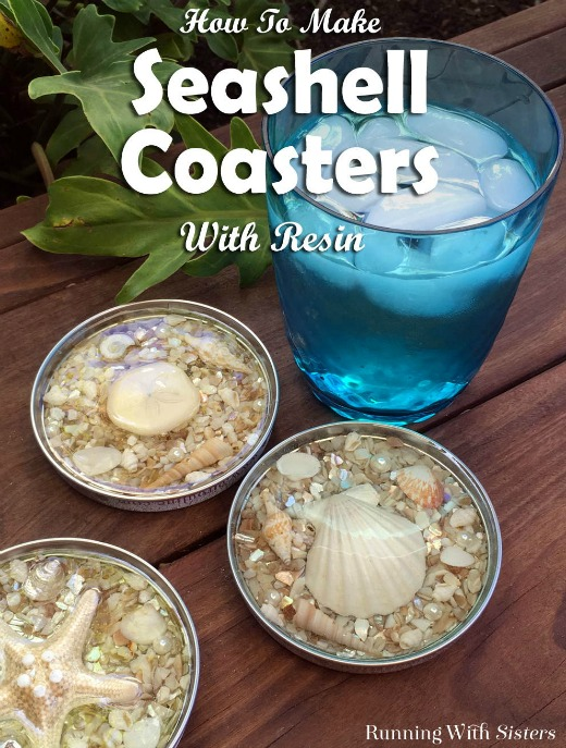 DIY Jar Lid Coasters with Seashells & Resin
