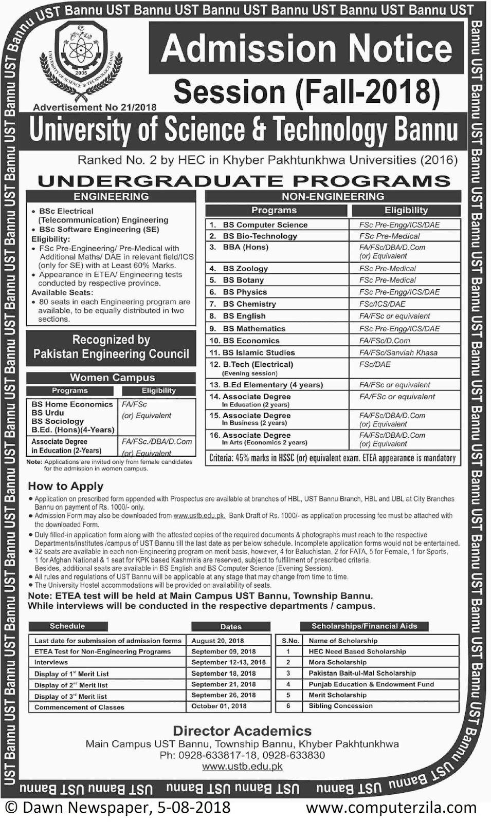 Admissions Open For Fall 2018 At USTB Bannu Campus