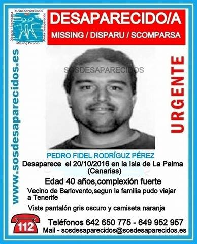 Hombre desaparecido en La Palma Pedro Fidel Rodríguez