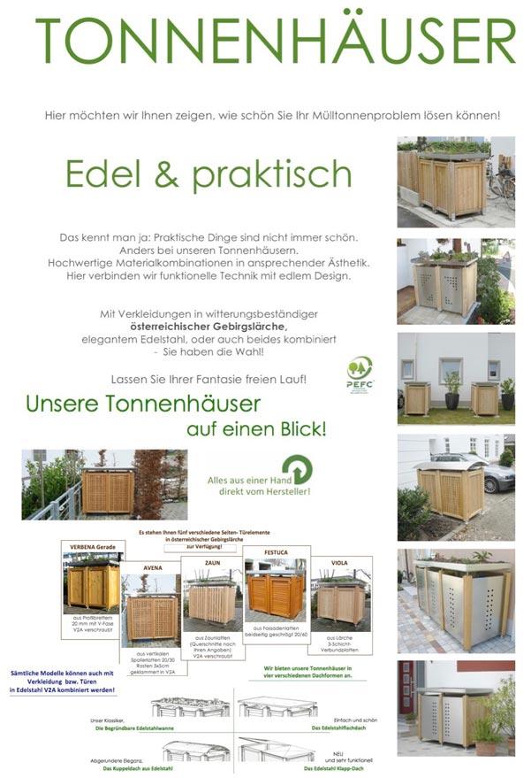 Viele Ideen für die Mülltonnen finden Sie auch bei der Fa. Scholbeck Freising - hier ein paar Beispiele davon
