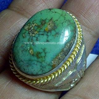 Cincin Batu Pirus Persia Hijau - ZP 656