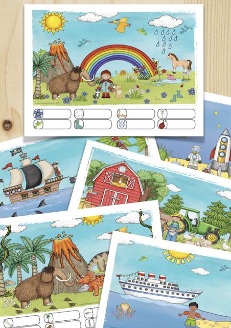 Nutze Wimmelbilder zum Erzählen und erfassen von Situationen, zum Zählen und Beschreiben von Gegenständen und erreiche so, dass deine Schüler von Anfang an selbst kleine Rechengeschichten erfinden.