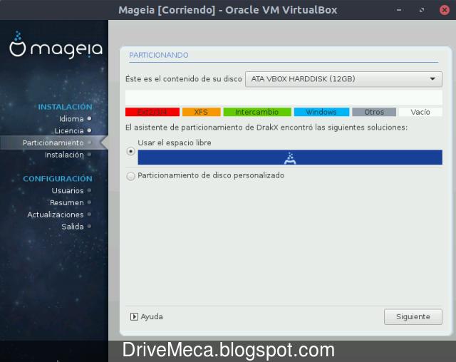 Particionado del disco en Mageia Linux