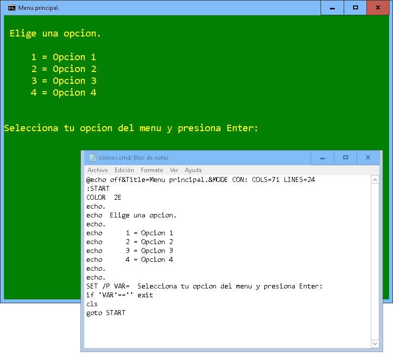 Pantallazos.es: Windows CMD: Establecer los colores de fondo y de ...