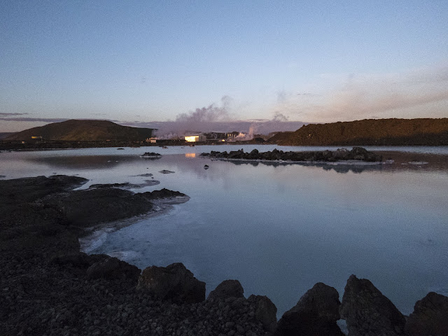 Iceland's Blue Lagoon under the Midnight Sun: Outside the paid area with a view of the geothermal power plant