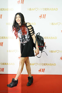 Adah Sharma looks cute trendy in a Long Black T Shirt and boots at H and M Store Launch ~  Exclusive