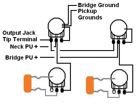 Ligação captadores JJ com 2V e 2T