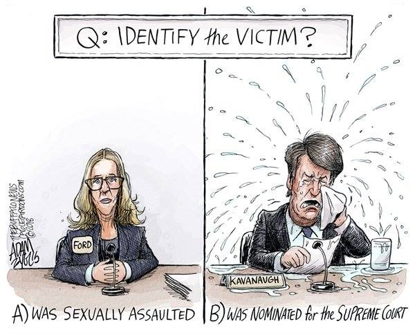 Title:  Q.  Identify the Victim.  Frame One:  Christine Blasey Ford testifying in a dignified manner, captioned