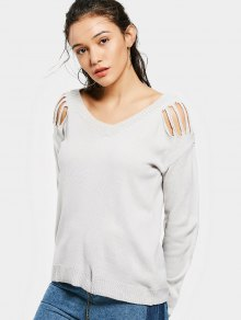 Ripped Shoulder V Neck Sweater - Gray