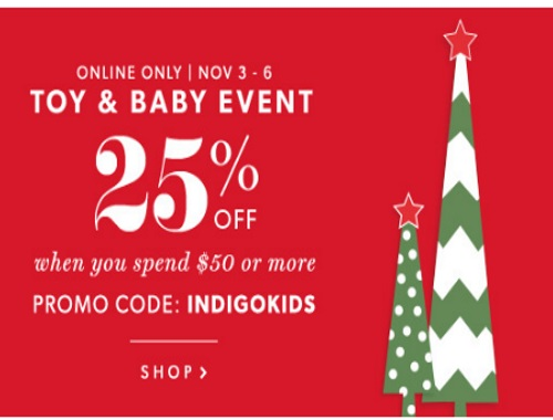Chapters Indigo 25% off Toy & Baby Event