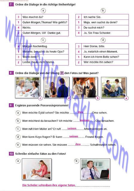 Almanca A1.2 Çıpa Yayınları Çalışma Kitabı Cevapları Sayfa 18